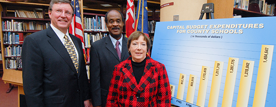 Board members posing for photo next to a budget poster