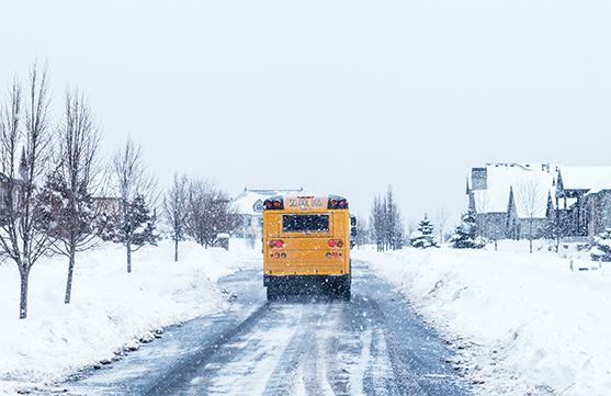 School bus in a snow storm